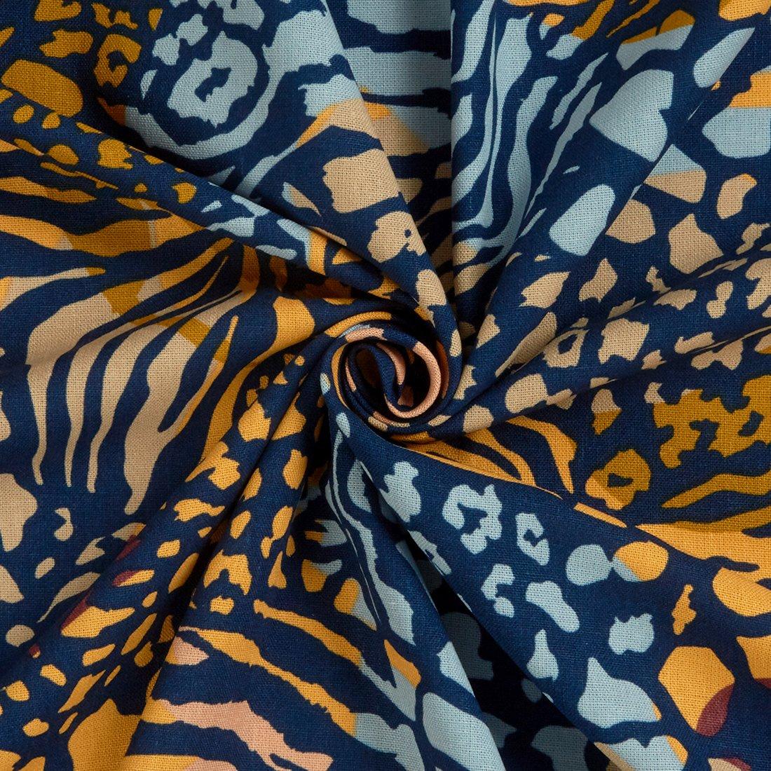 Abstract Animal Blue Dress Fabric