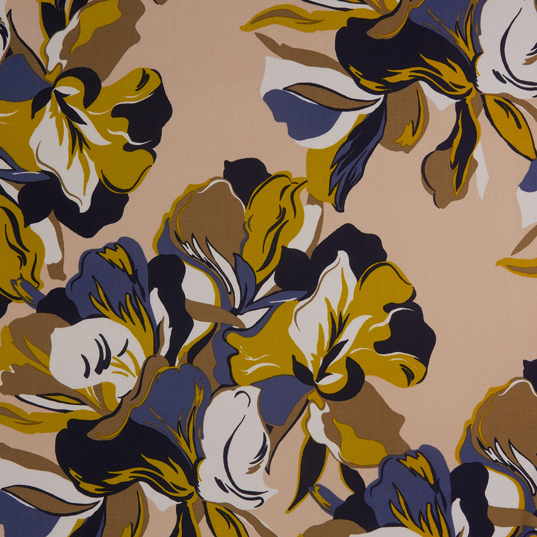 Abstract Leaves Navy Mustard Dress Fabric
