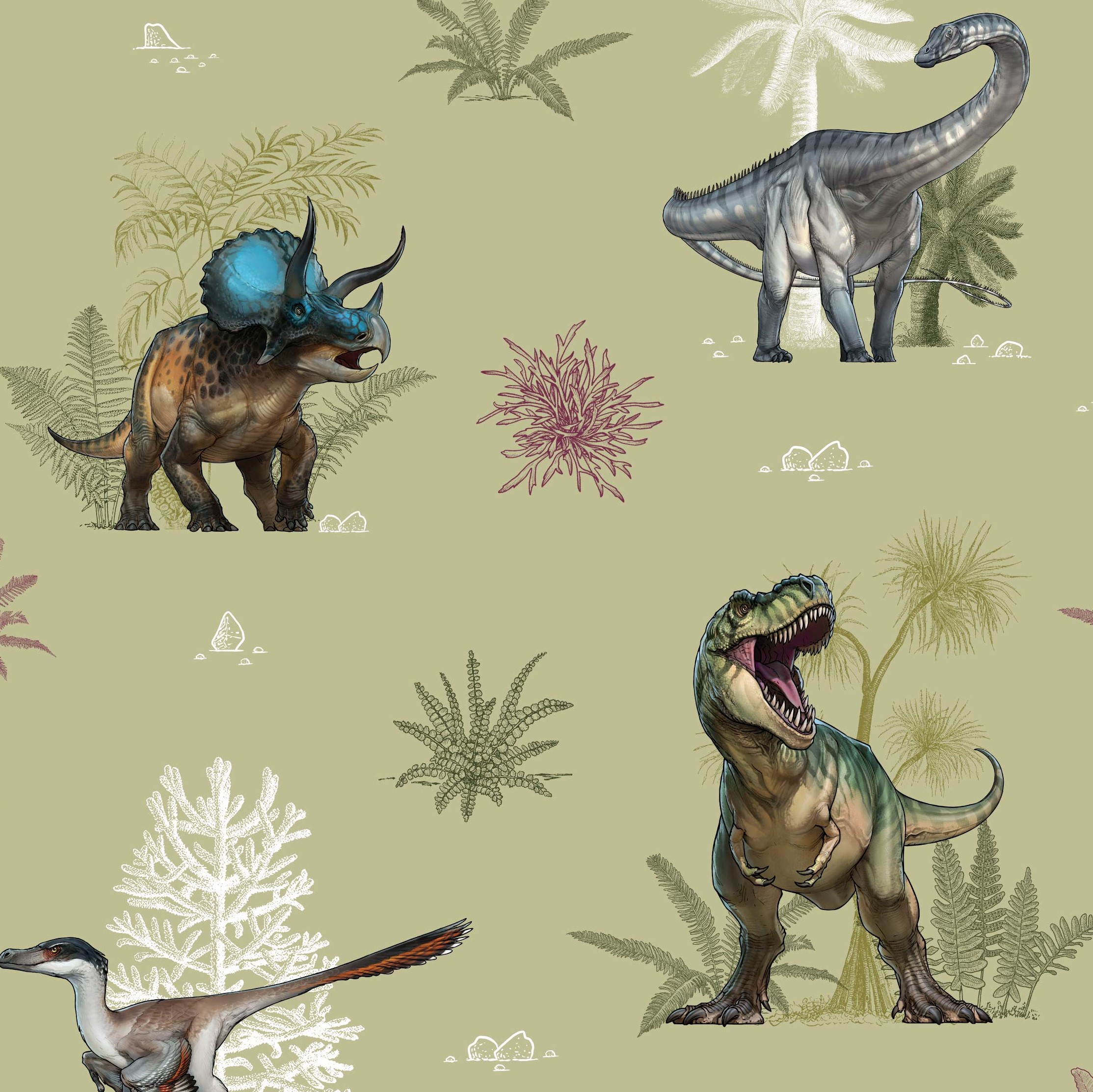 Age Of The Dinosaurs Landscape Craft Fabric