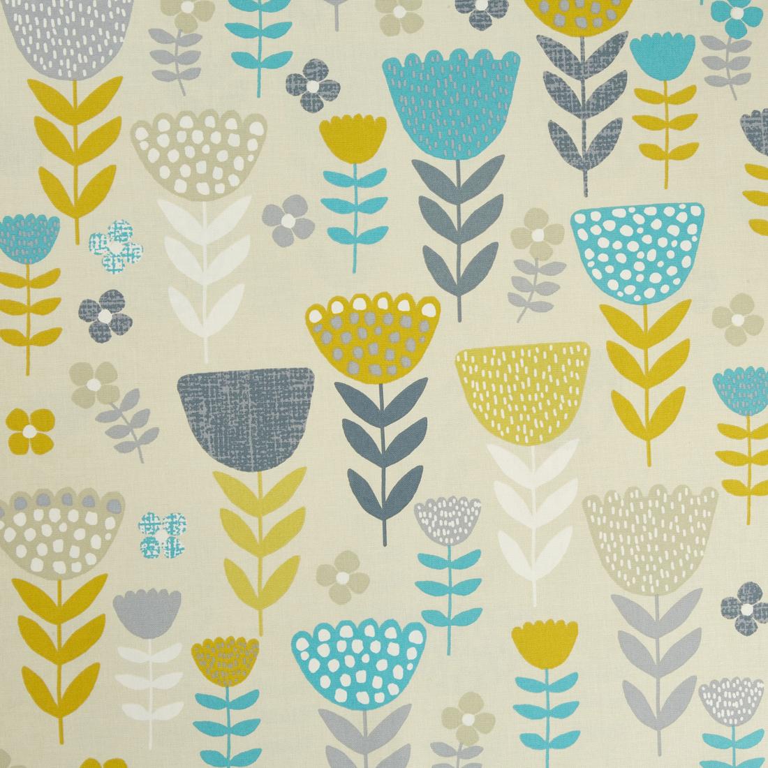 Annika Teal Curtain Fabric