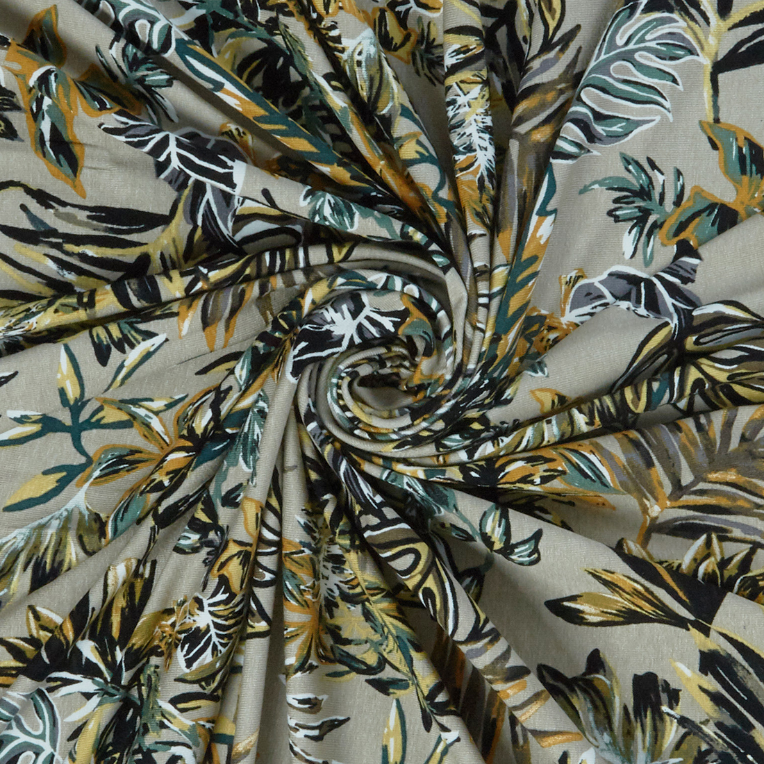 Autumn Ferns Beige Dress Fabric