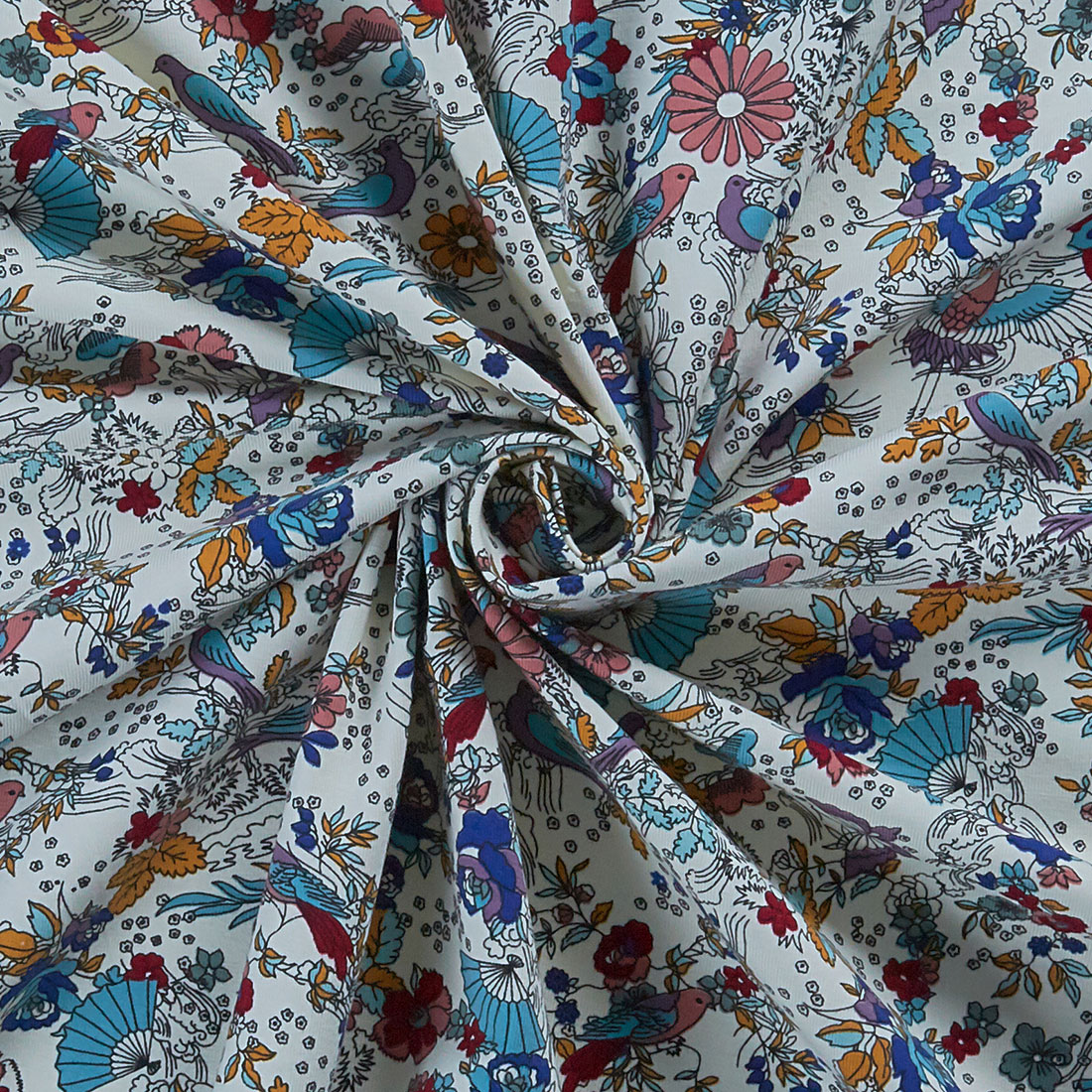 Bird Print Cotton Jersey Ivory