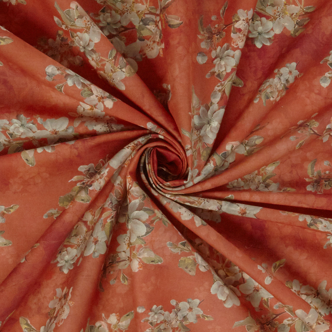 Blossom Cotton Lawn Rust Dress Fabric
