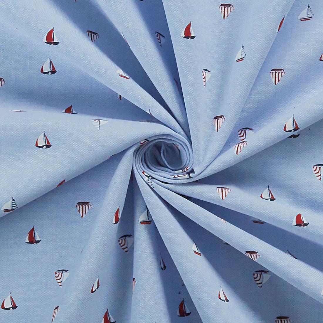 Boats Chambray Blue Craft Fabric