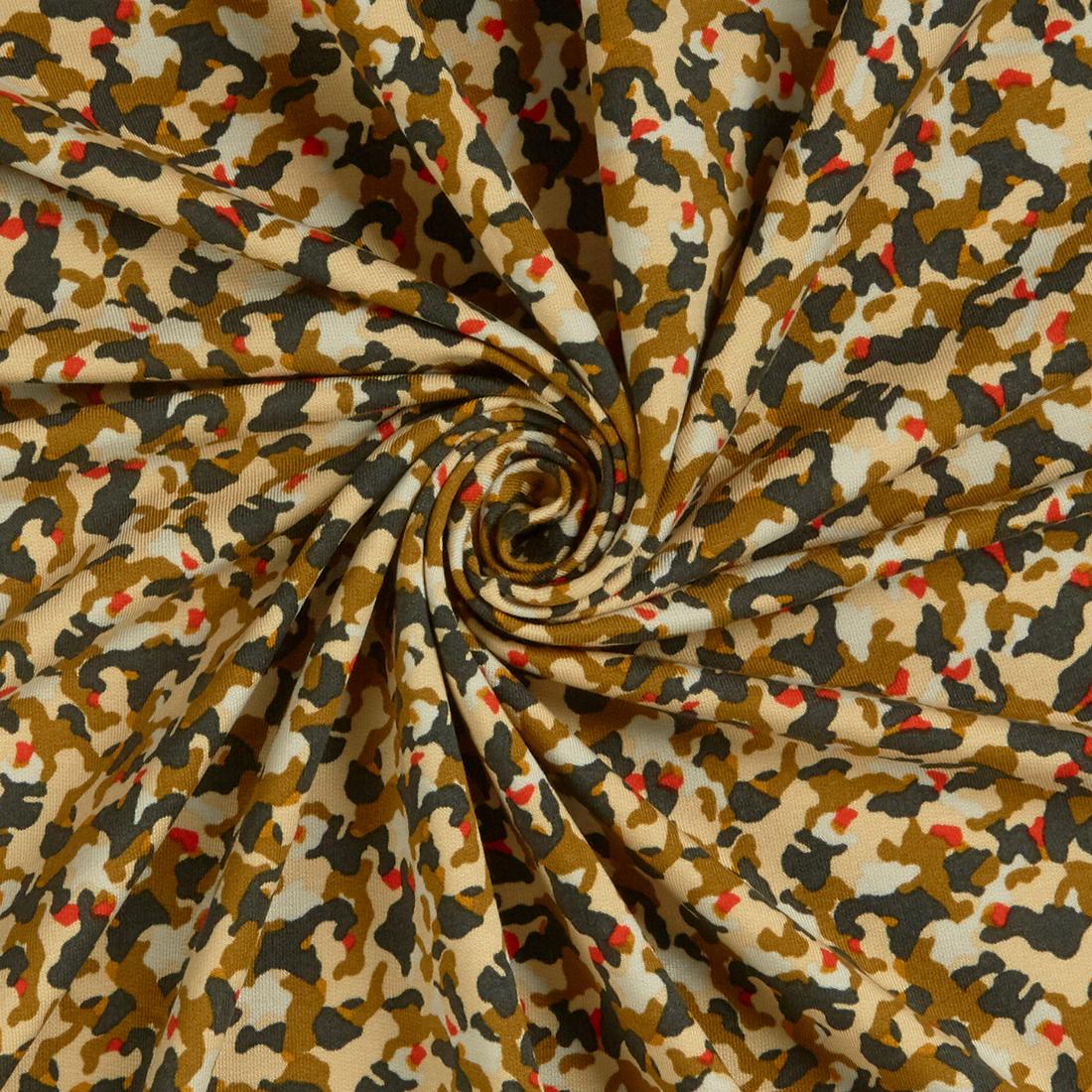 Camo Modal Jersey Caramel Dress Fabric