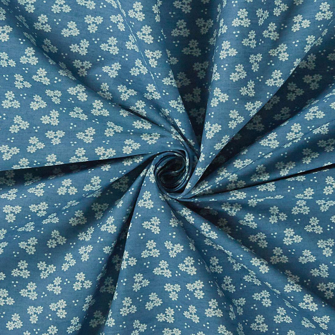 Cotton Chambray Daisy Blue