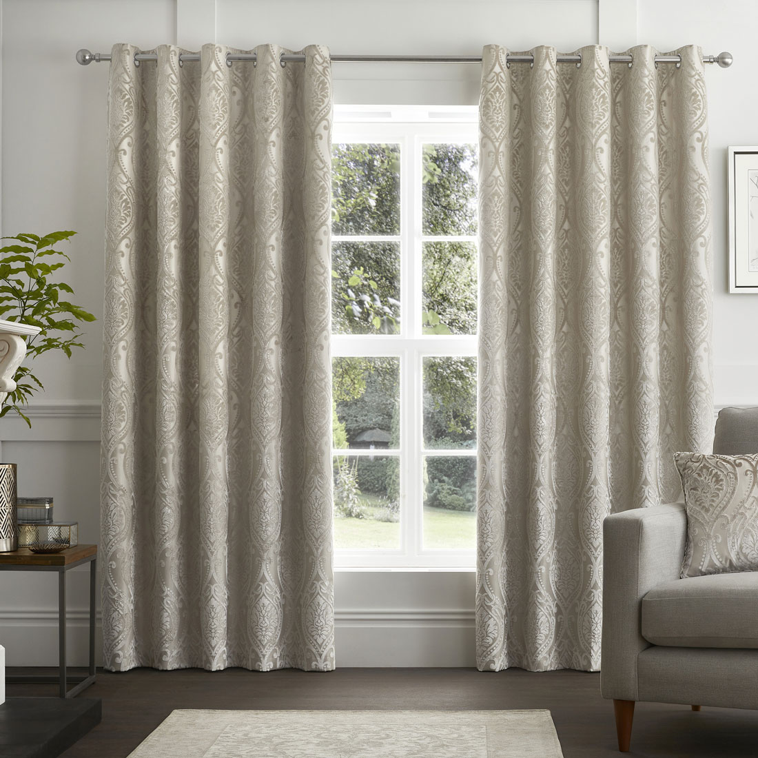 Chateau Devore Natural Eyelet Curtains