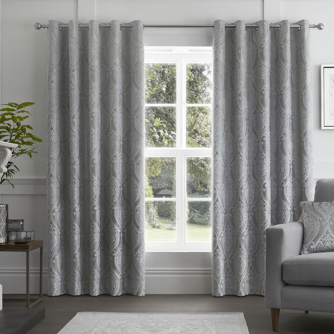 Chateau Devore Silver Eyelet Curtains