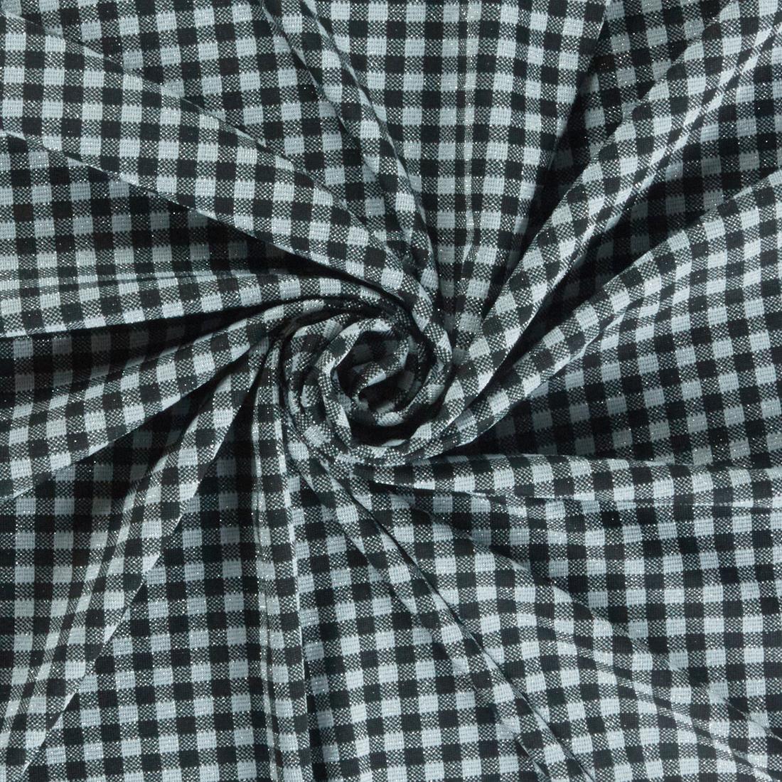 Checkerboard Glitz Black Silver Dress Fabric