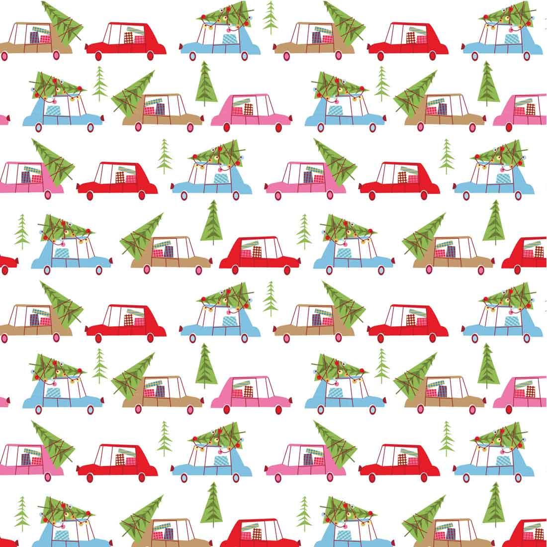 Christmas Town Cars Multi Craft Fabric