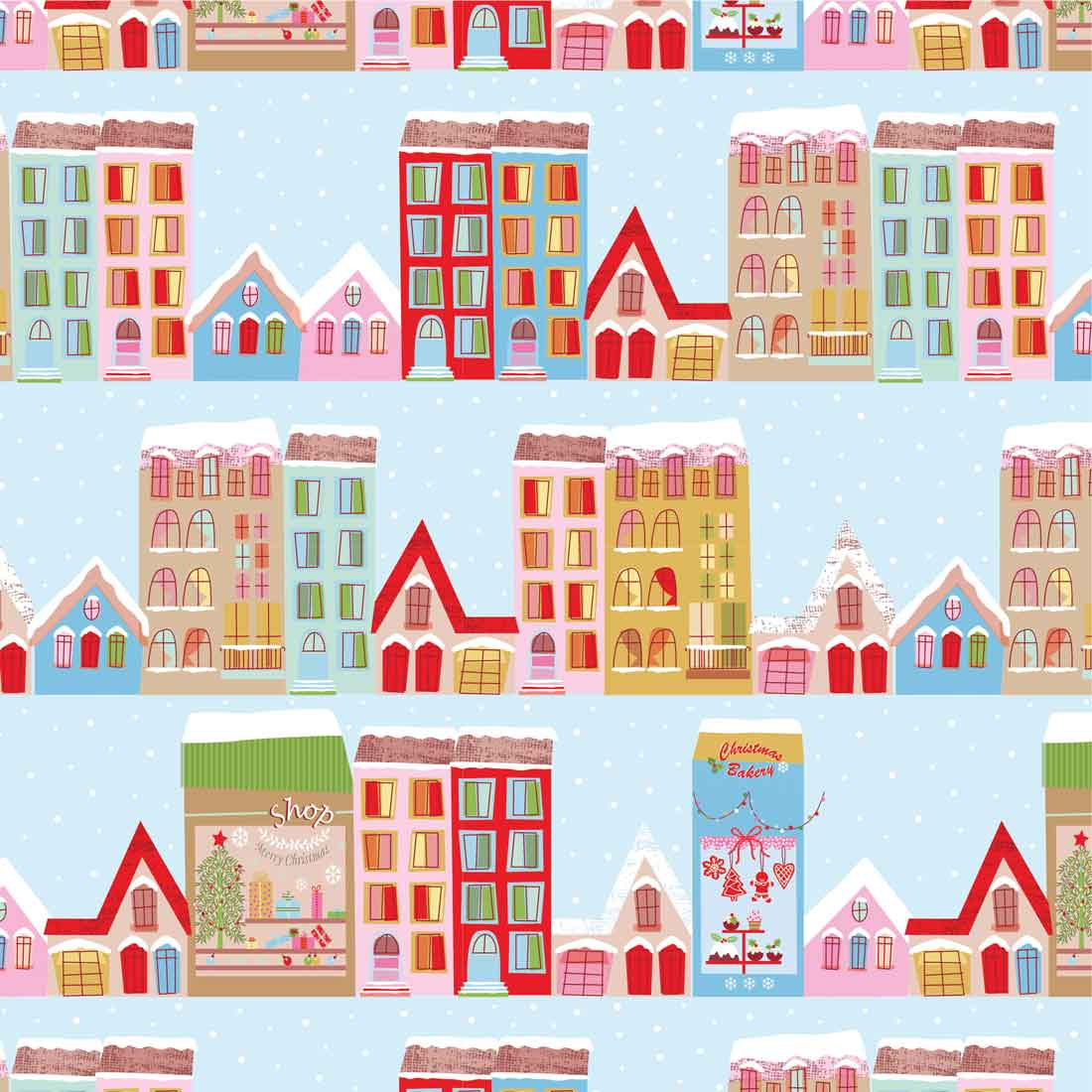 Christmas Town House Multi Craft Fabric