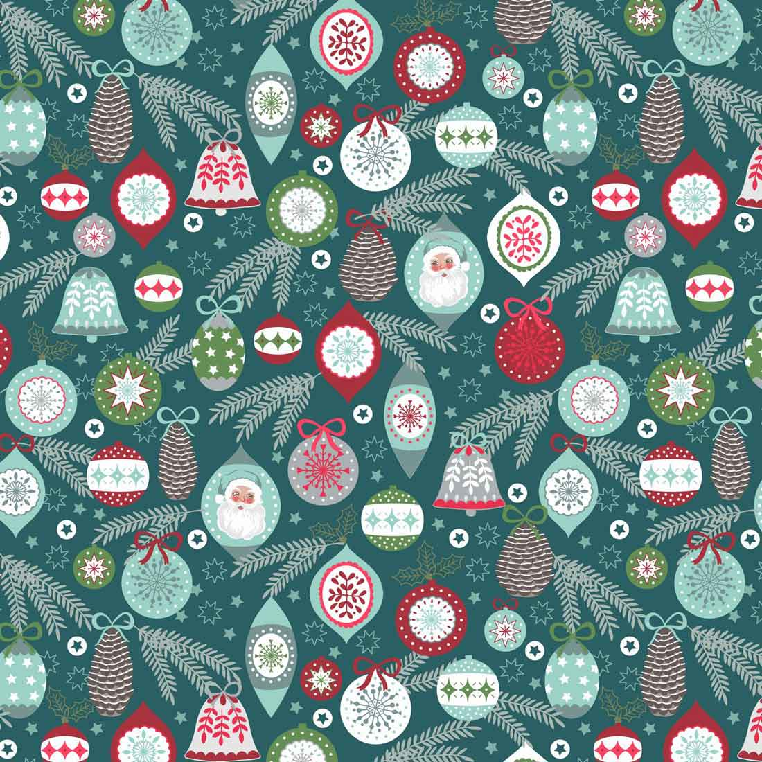 Christmas Tree Bauble Teal Craft Fabric