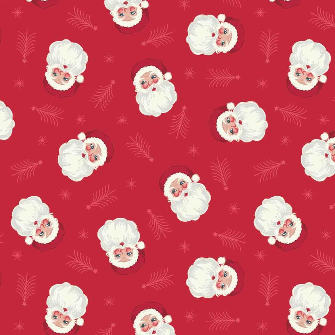 Christmas Trees Santa Craft Fabric