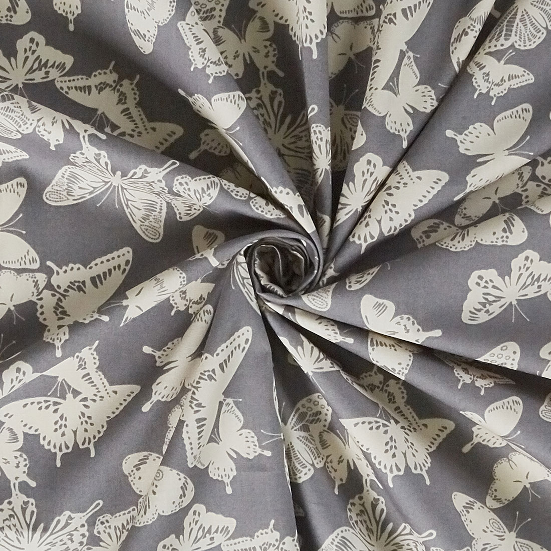 Cotton Mono Butterfly Grey