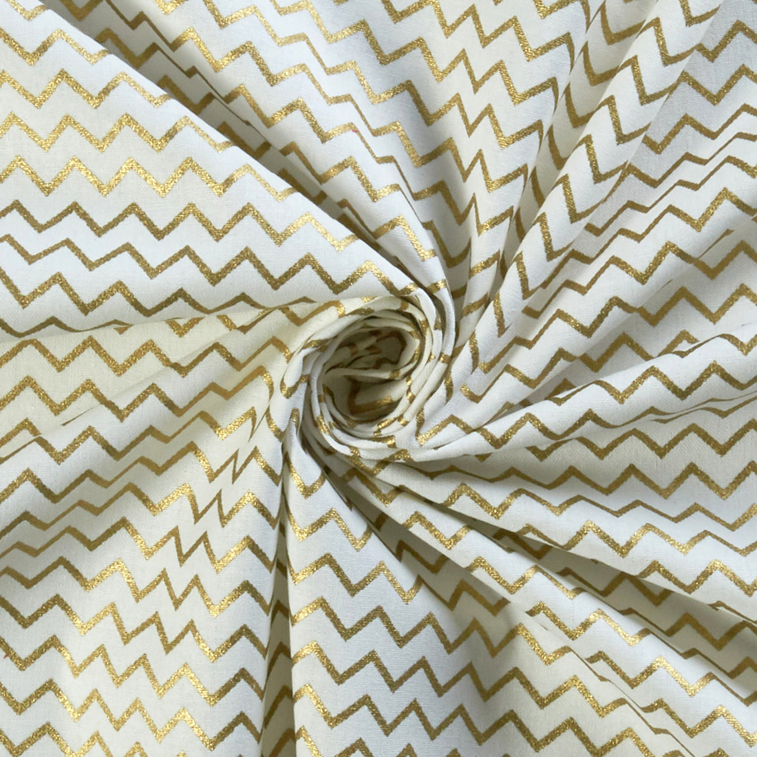 Xmas 100% Cotton Foil Chevron Ivory
