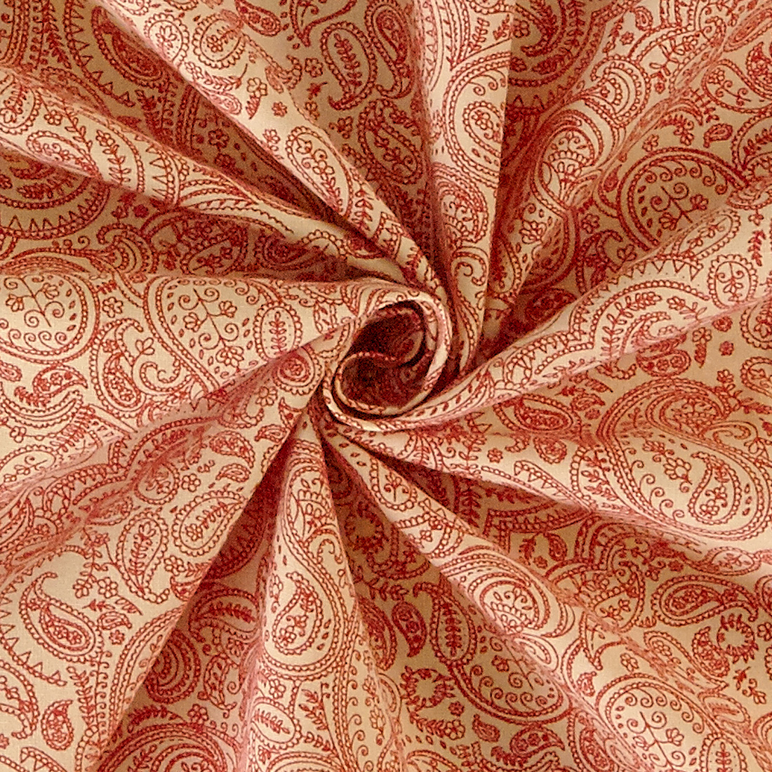 Cotton Paisley Print Red