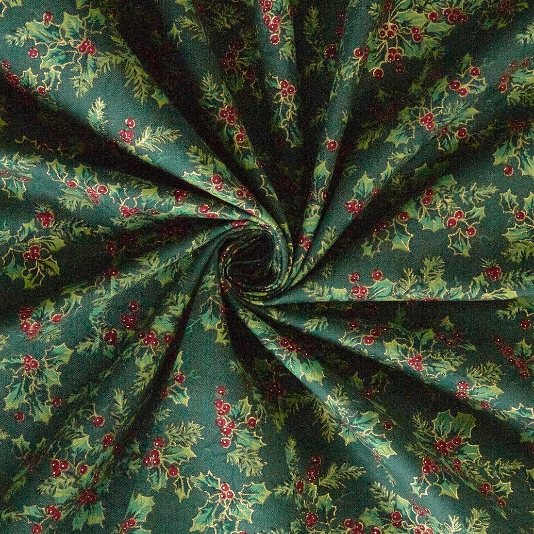Cotton Xmas Holly Green