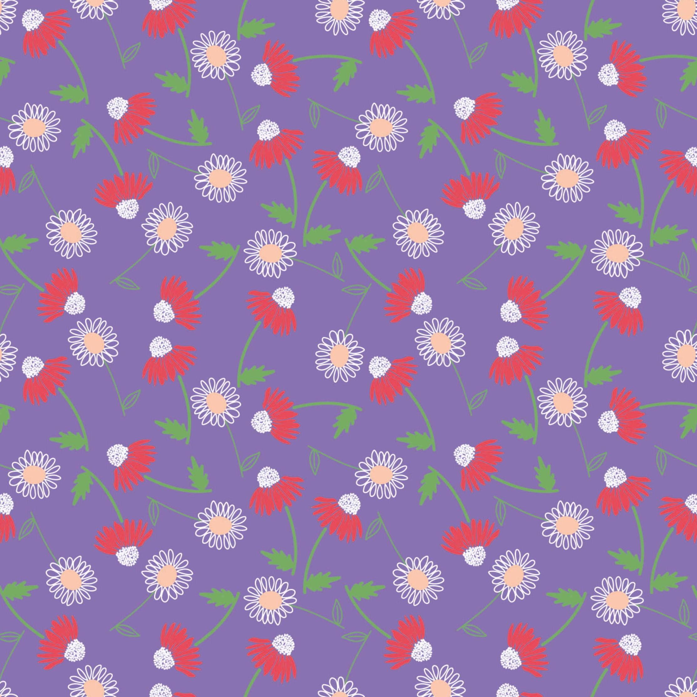 Cute Floral Purple Craft Fabric