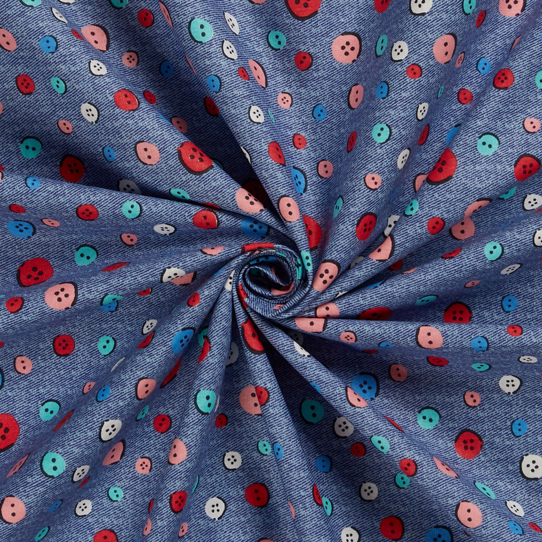 Denim Buttons Multi Craft Cotton Fabric