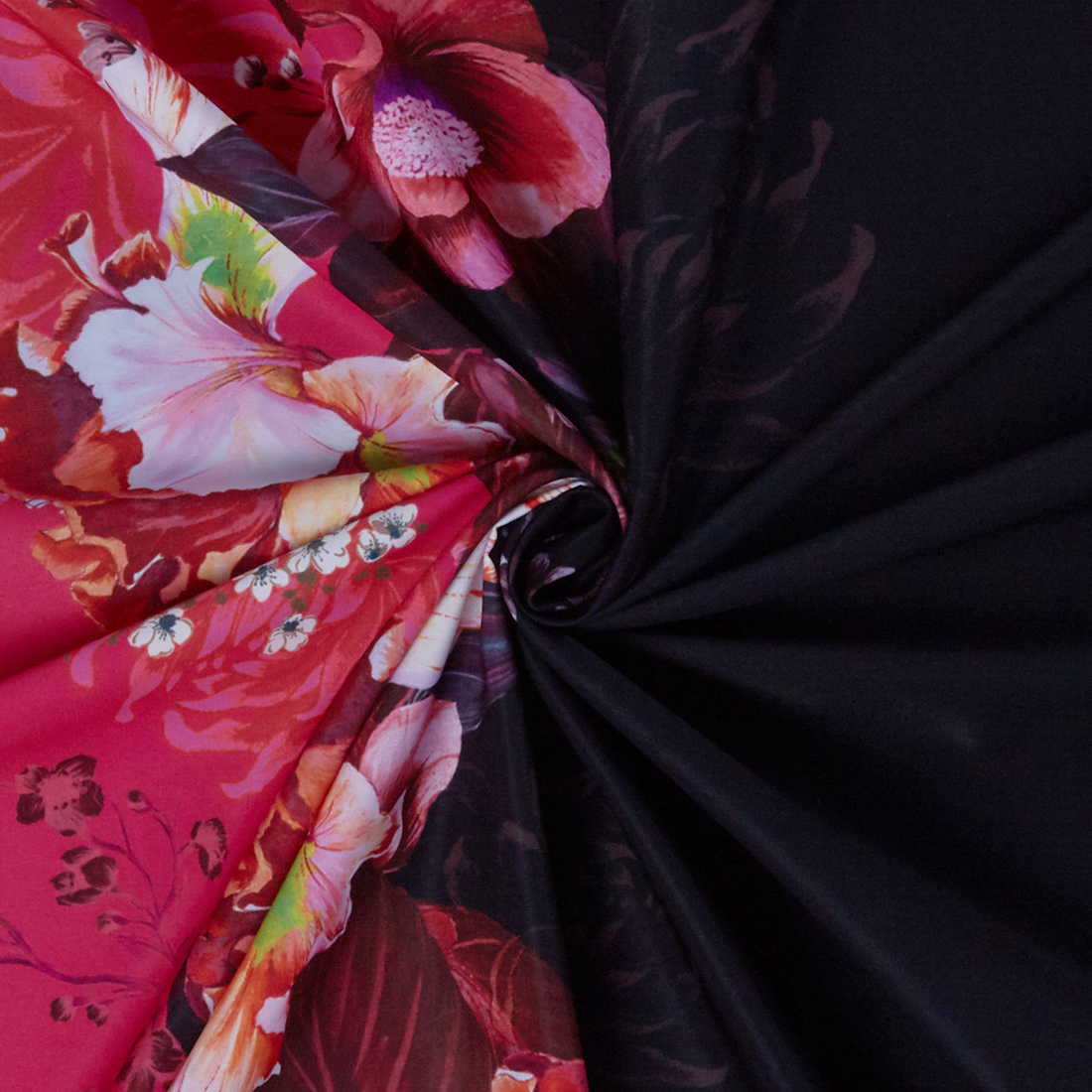 Digital Floral Border Cerise Black Dress Fabri