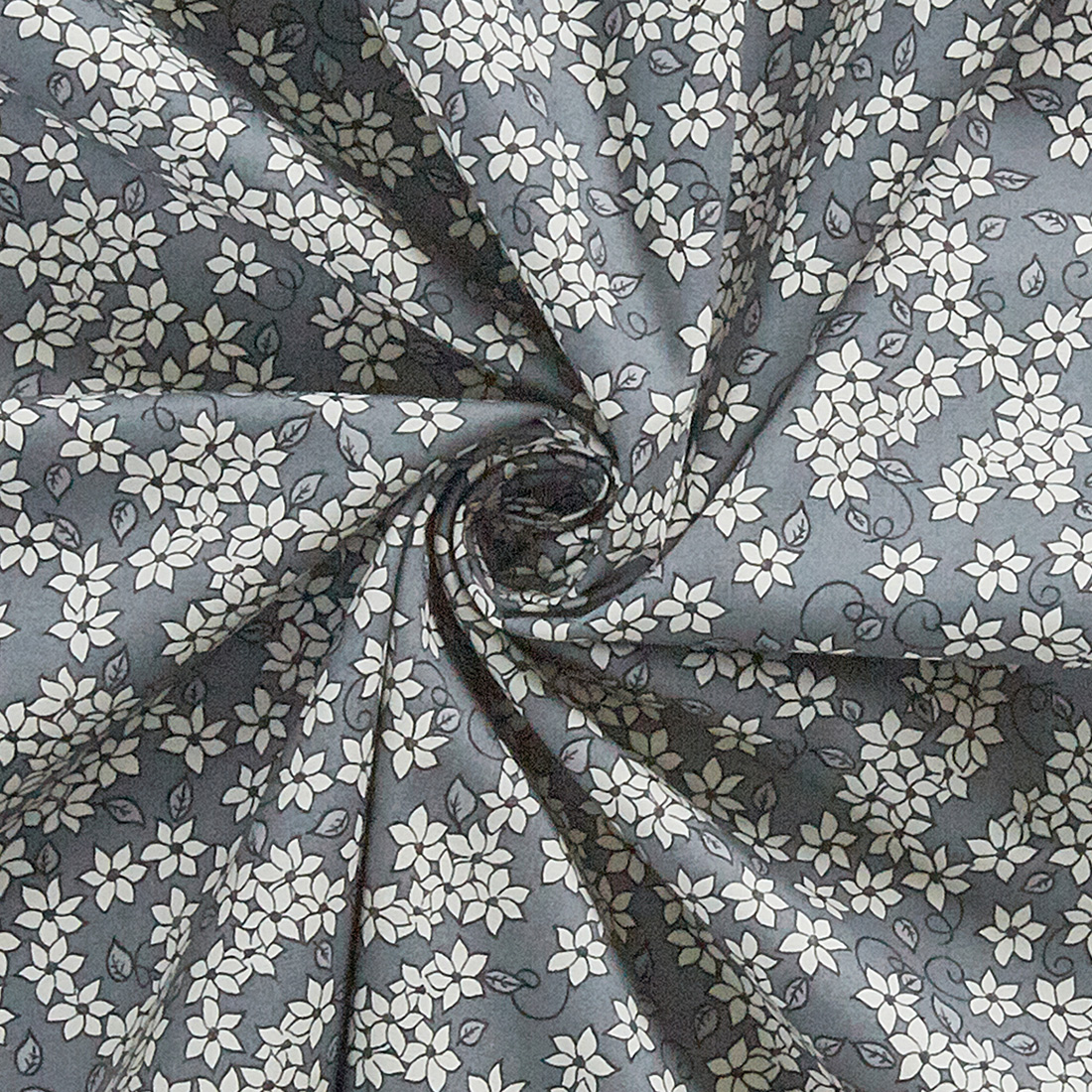 Cotton Ditsy Floral Grey