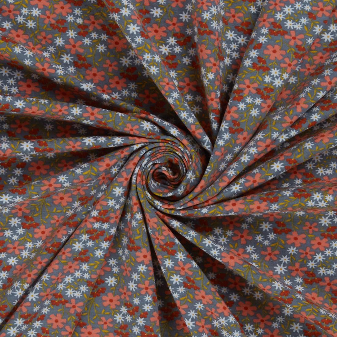 Ditsy Jersey Grey Dress Fabric