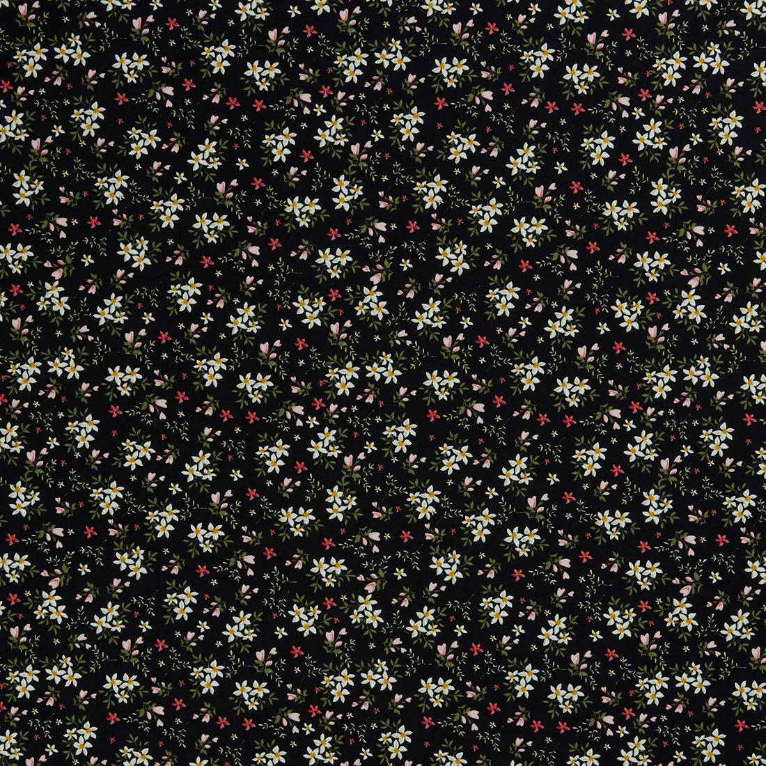 Ditsy Lily Black Dress Fabric