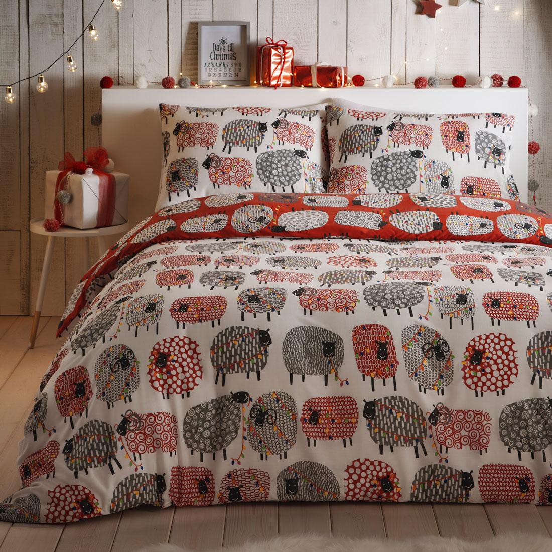 Dotty Sheep Christmas Red Duvet Set