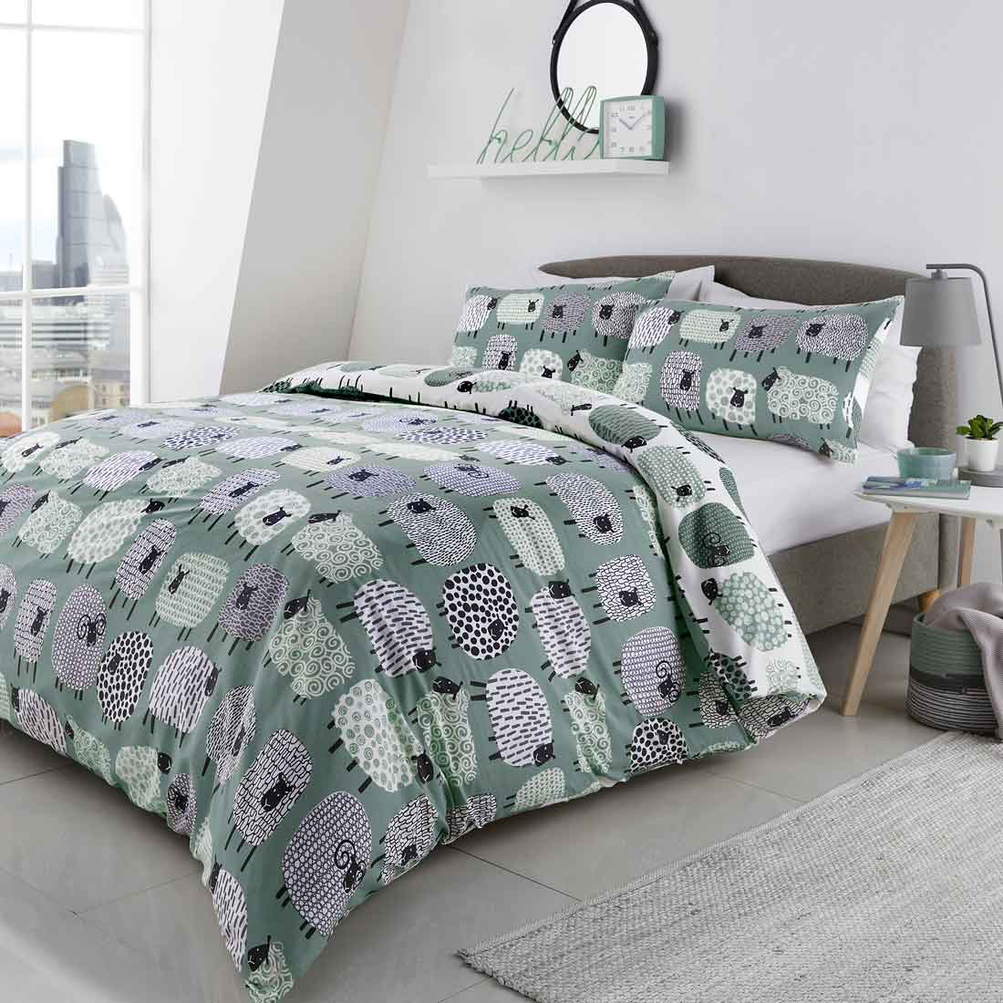 Dotty Sheep Duckegg Duvet Set