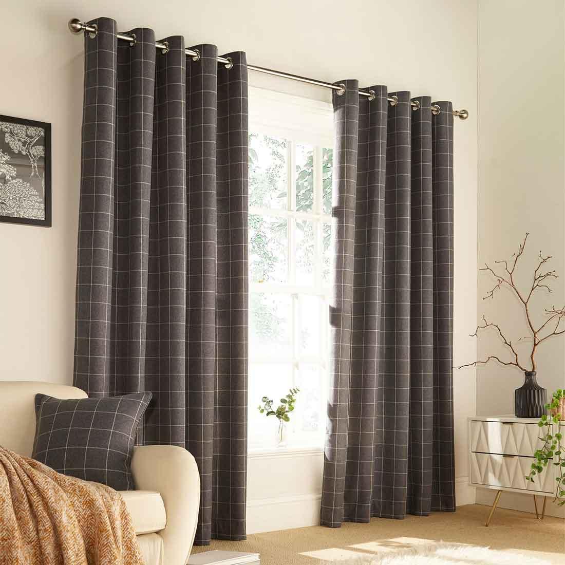Ellis Grey Eyelet Curtains