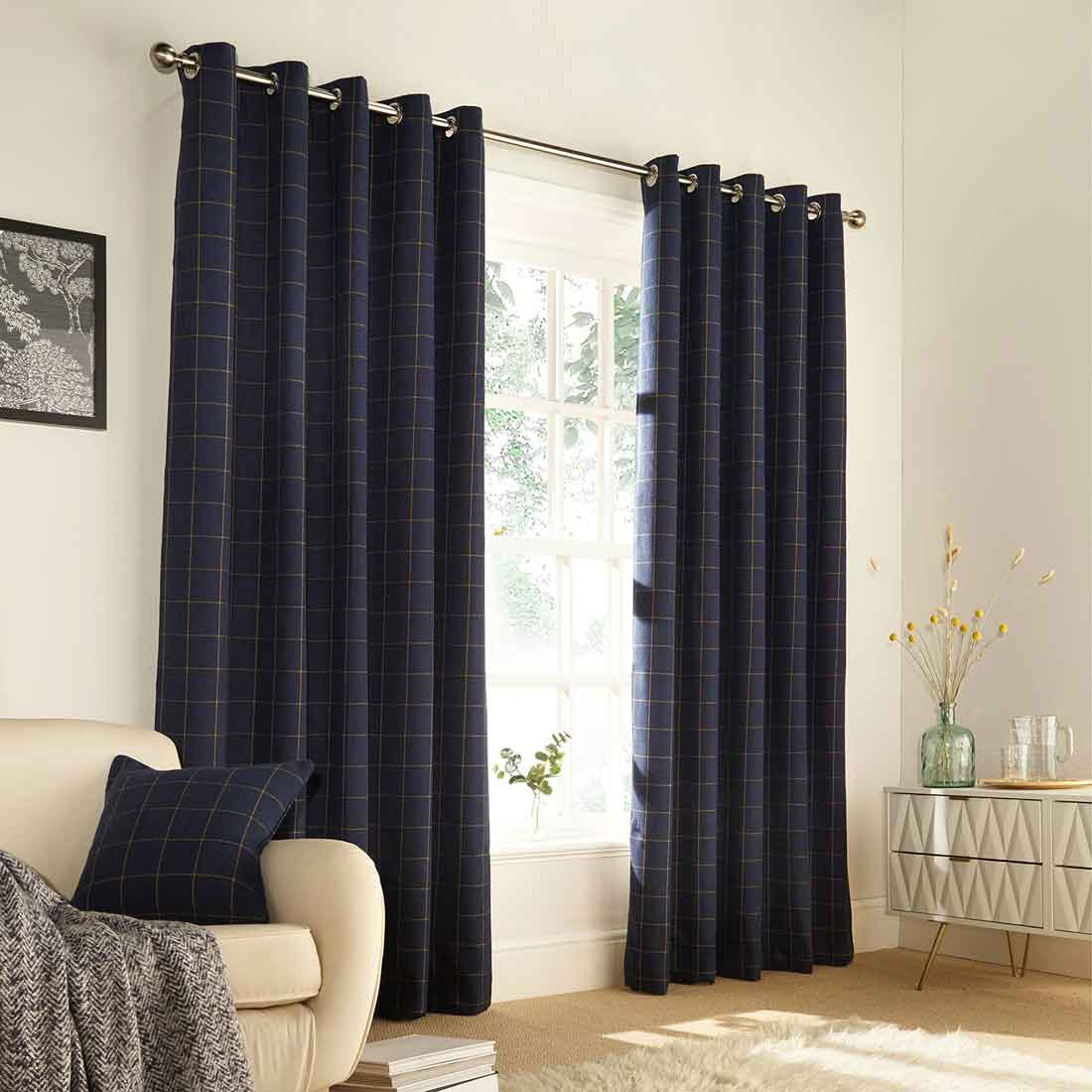 Ellis Navy Eyelet Curtains