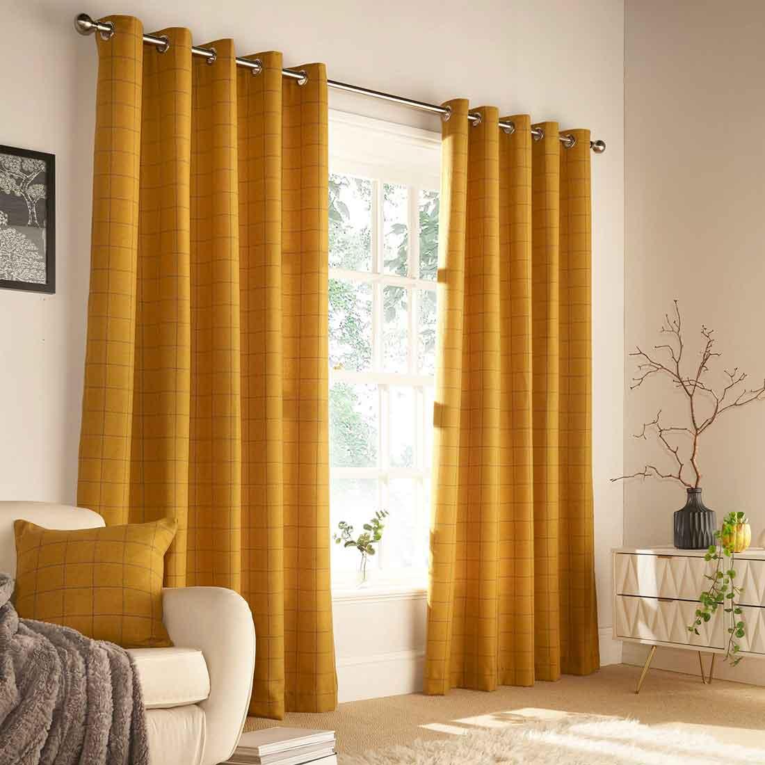 Ellis Ochre Eyelet Curtains