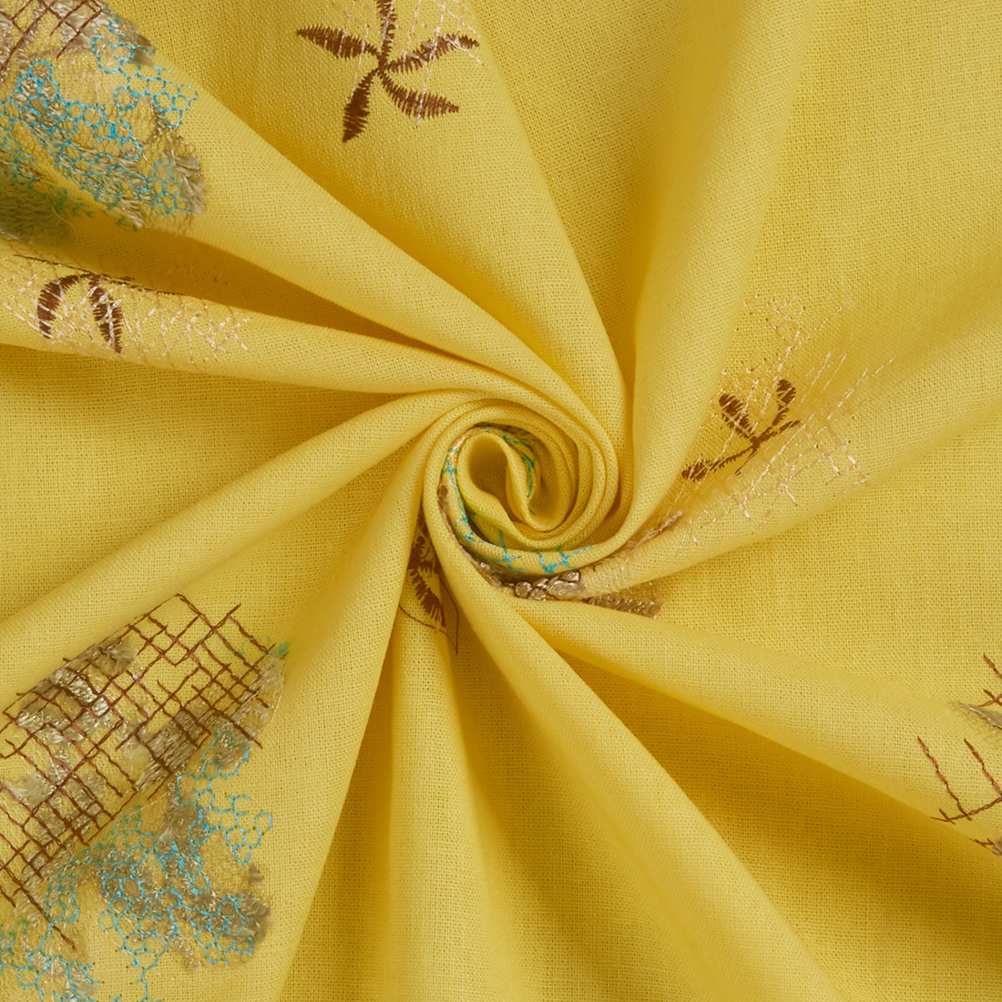 Embroidered Linen Mix Yellow Dress Fabric