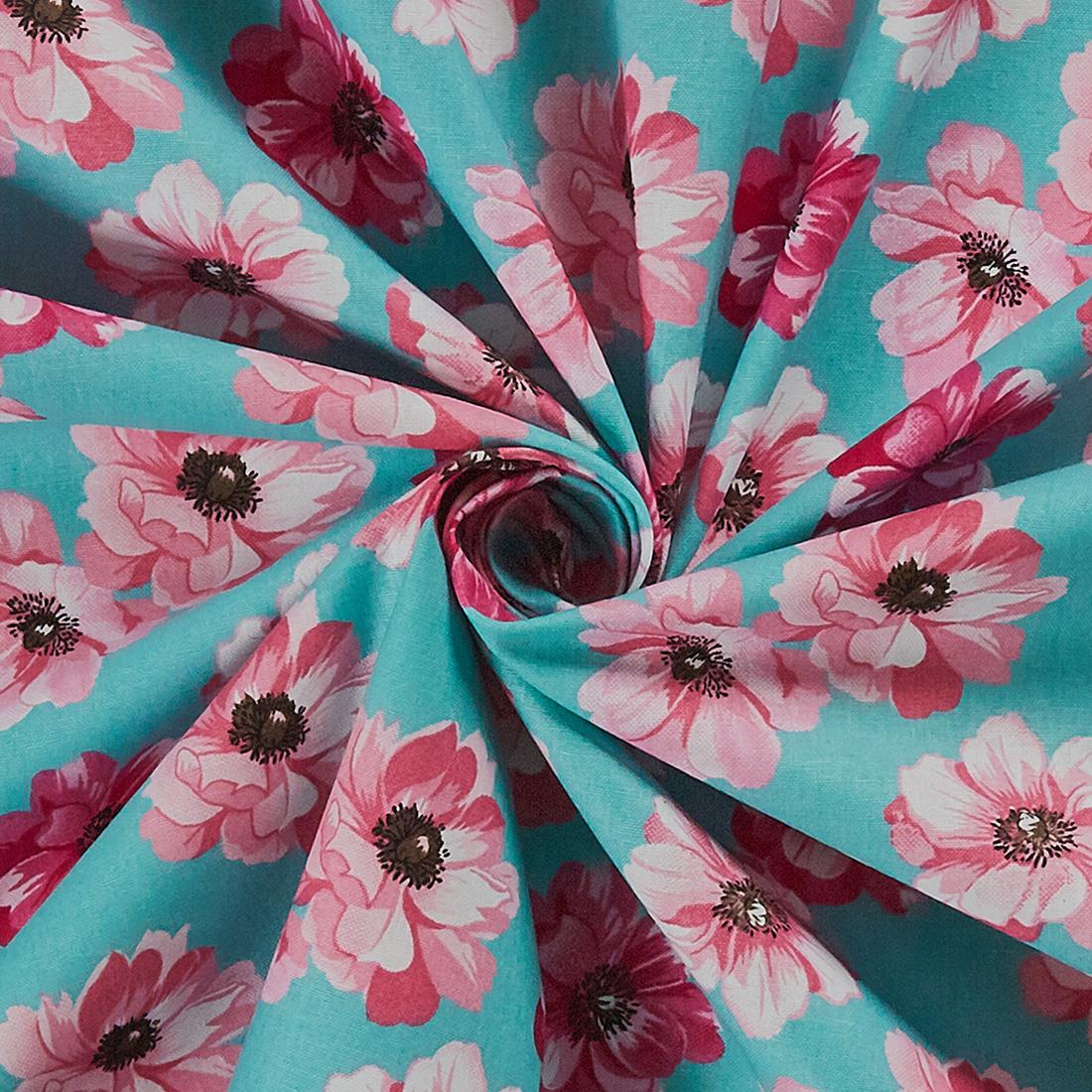 Cotton English Garden Flowers Mint