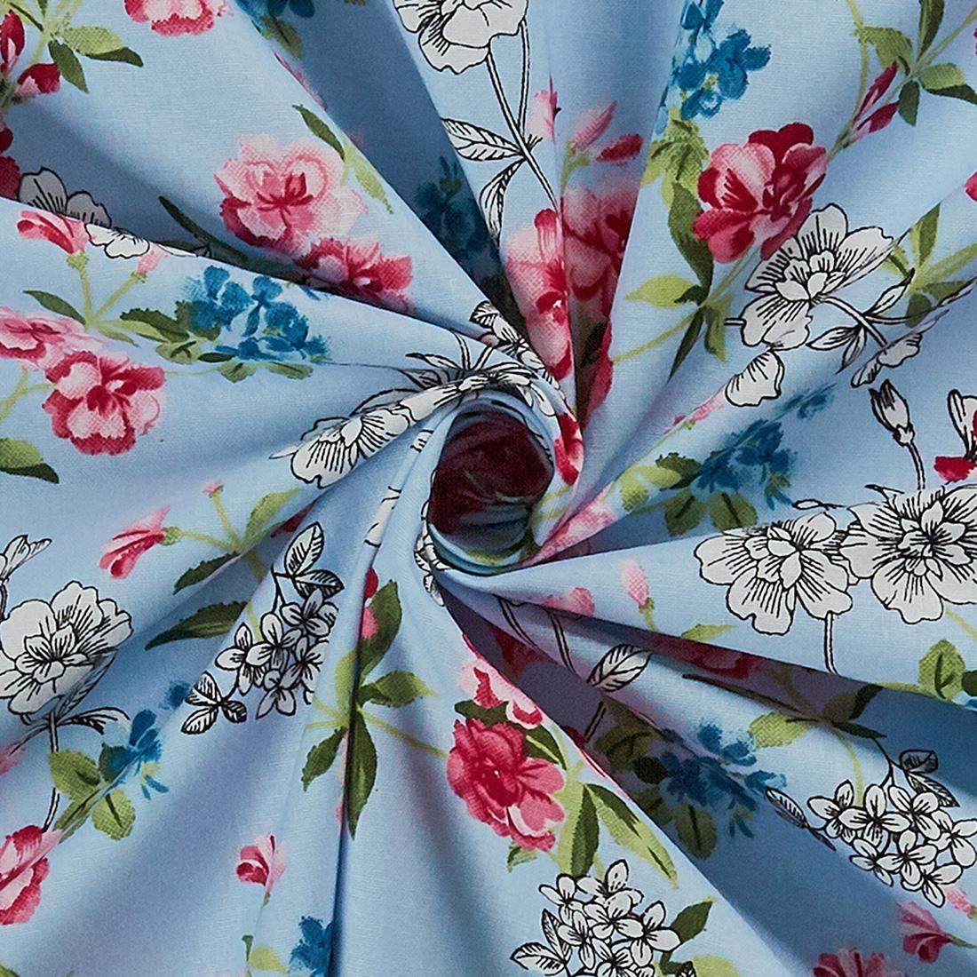 Cotton English Garden Flowers Pale Blue