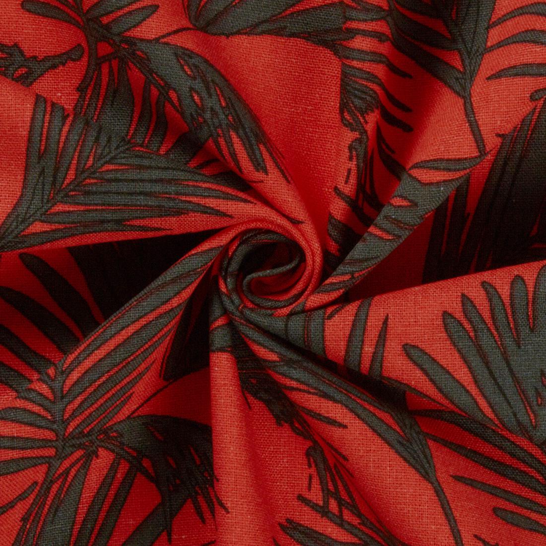 Ferns Linen Viscose Orange Dress Fabric