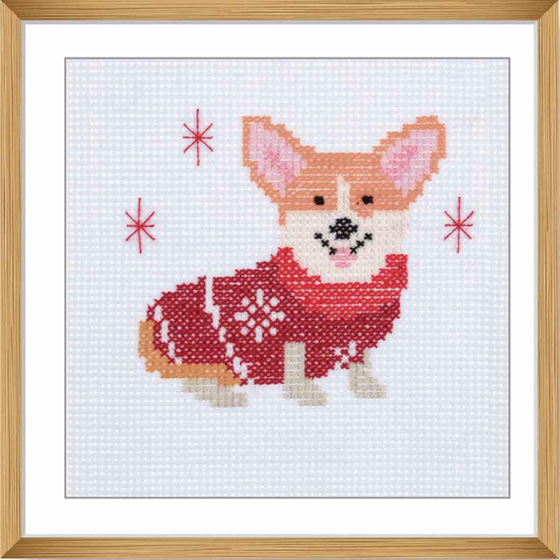 Festive Corgi Cross Stitch Kit