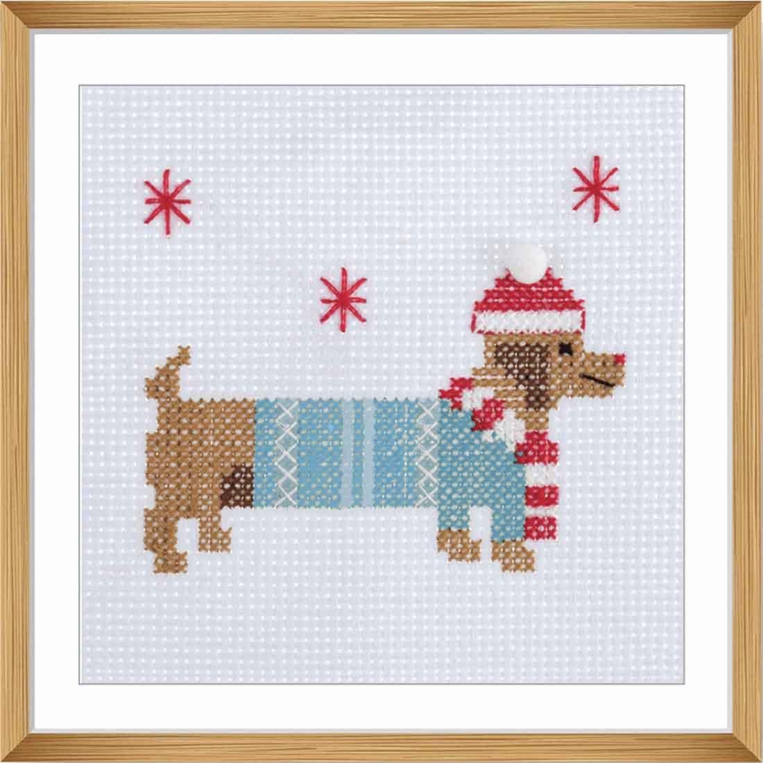Festive Dashchund Cross Stitch Kit