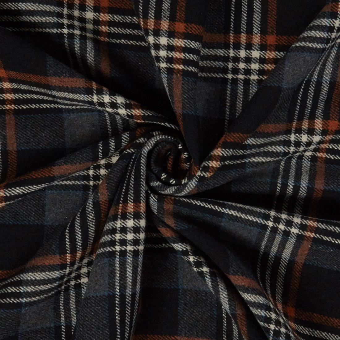 Flannel Check Black Dress Fabric