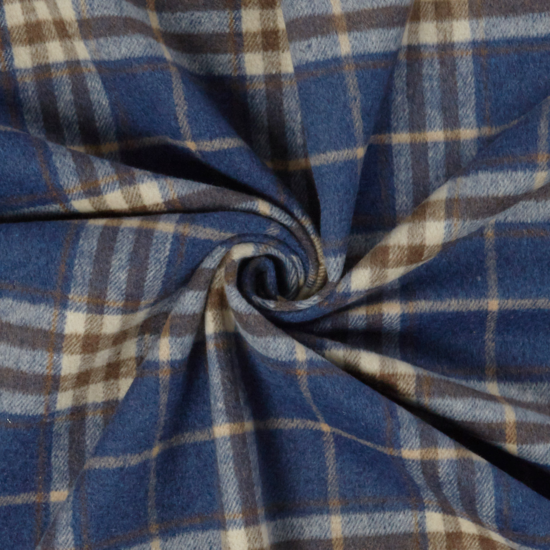 Flannel Check Blue Dress Fabric