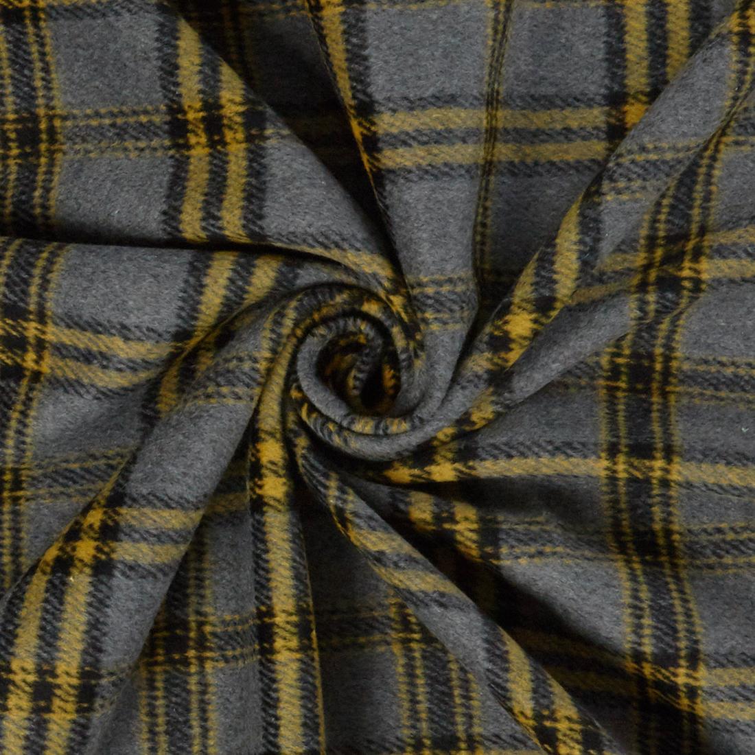 Flannel Check Grey Dress Fabric