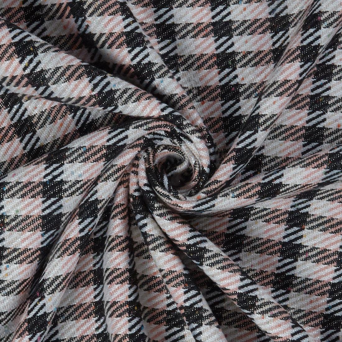 Flecked Check Tweed Pink Black Dress Fabric