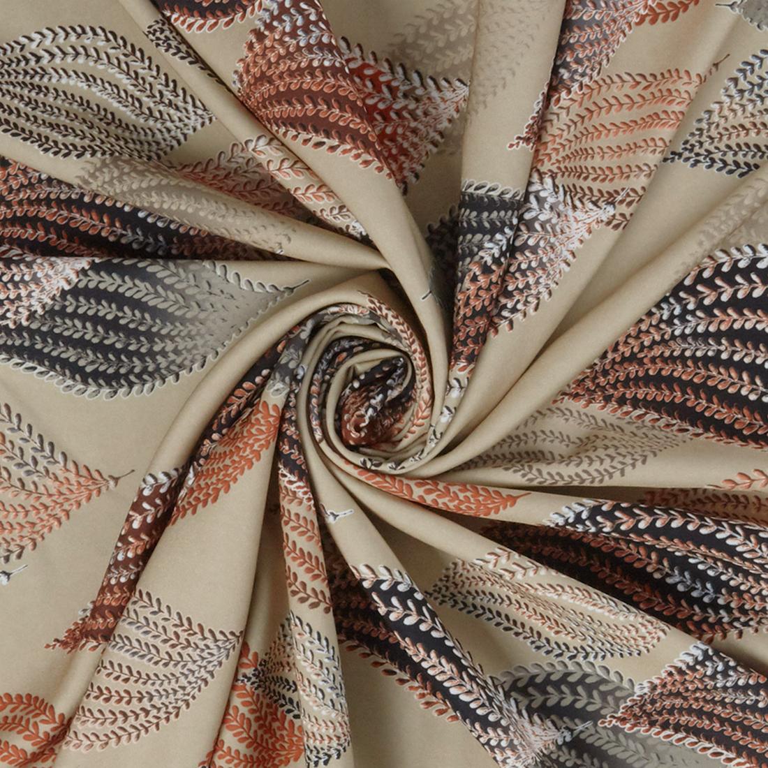 Floating Leaves Satin Beige Dress Fabric