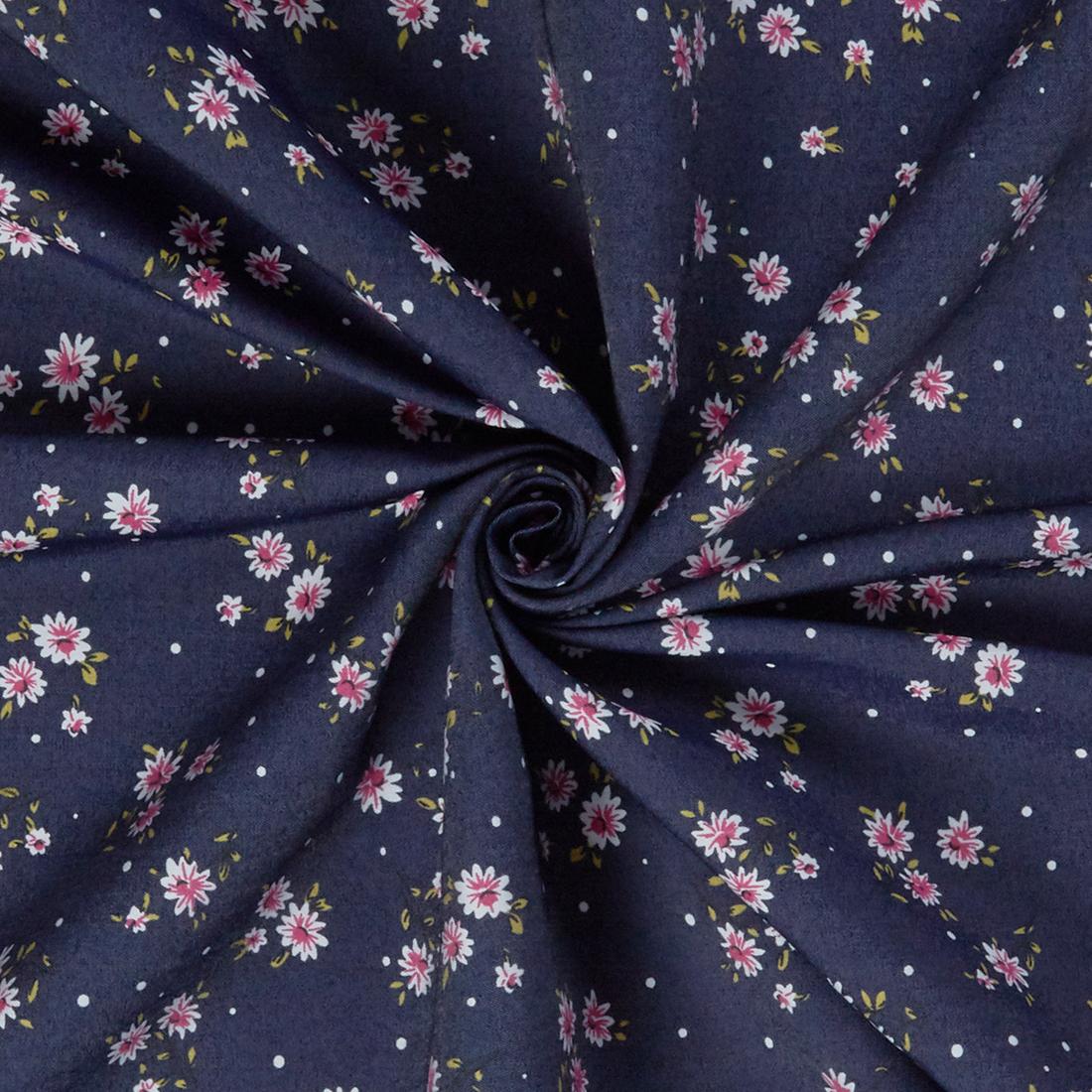 Floral Denim Dark Dress Fabric