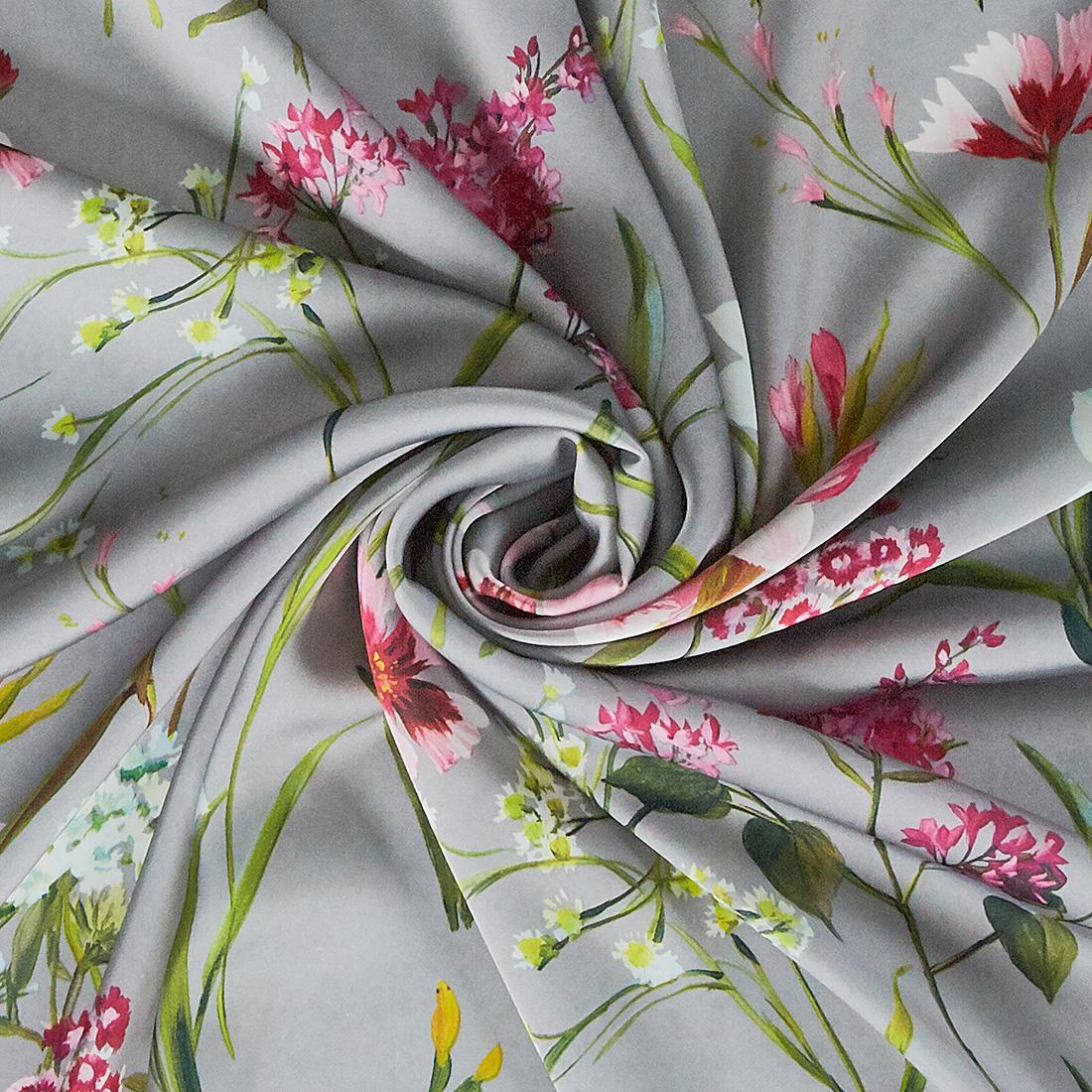 Floral Satin Print Grey
