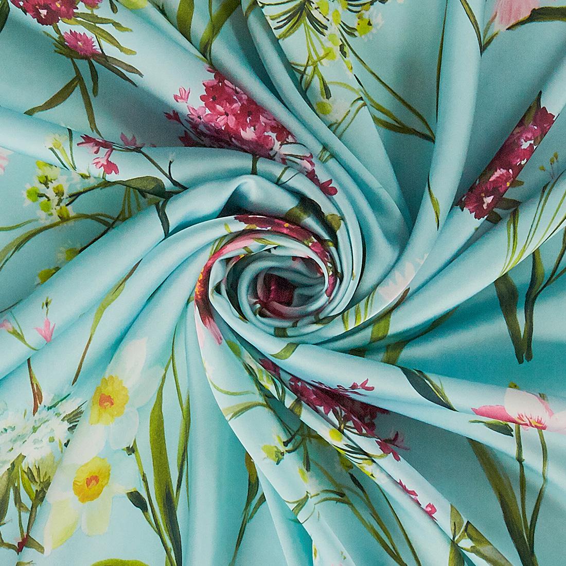 Floral Satin Print Sky