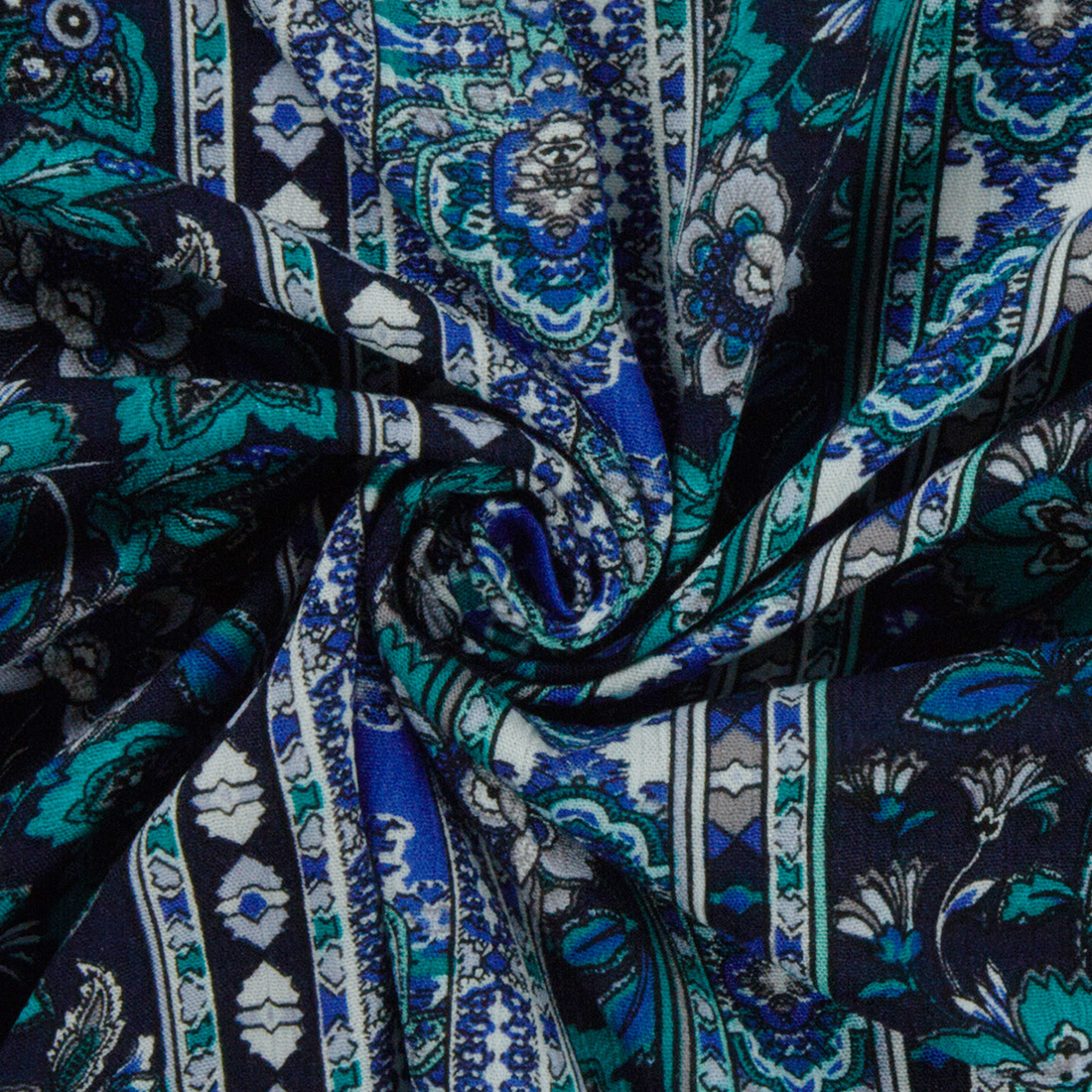 Floral Stripe Viscose Blue Dress Fabric