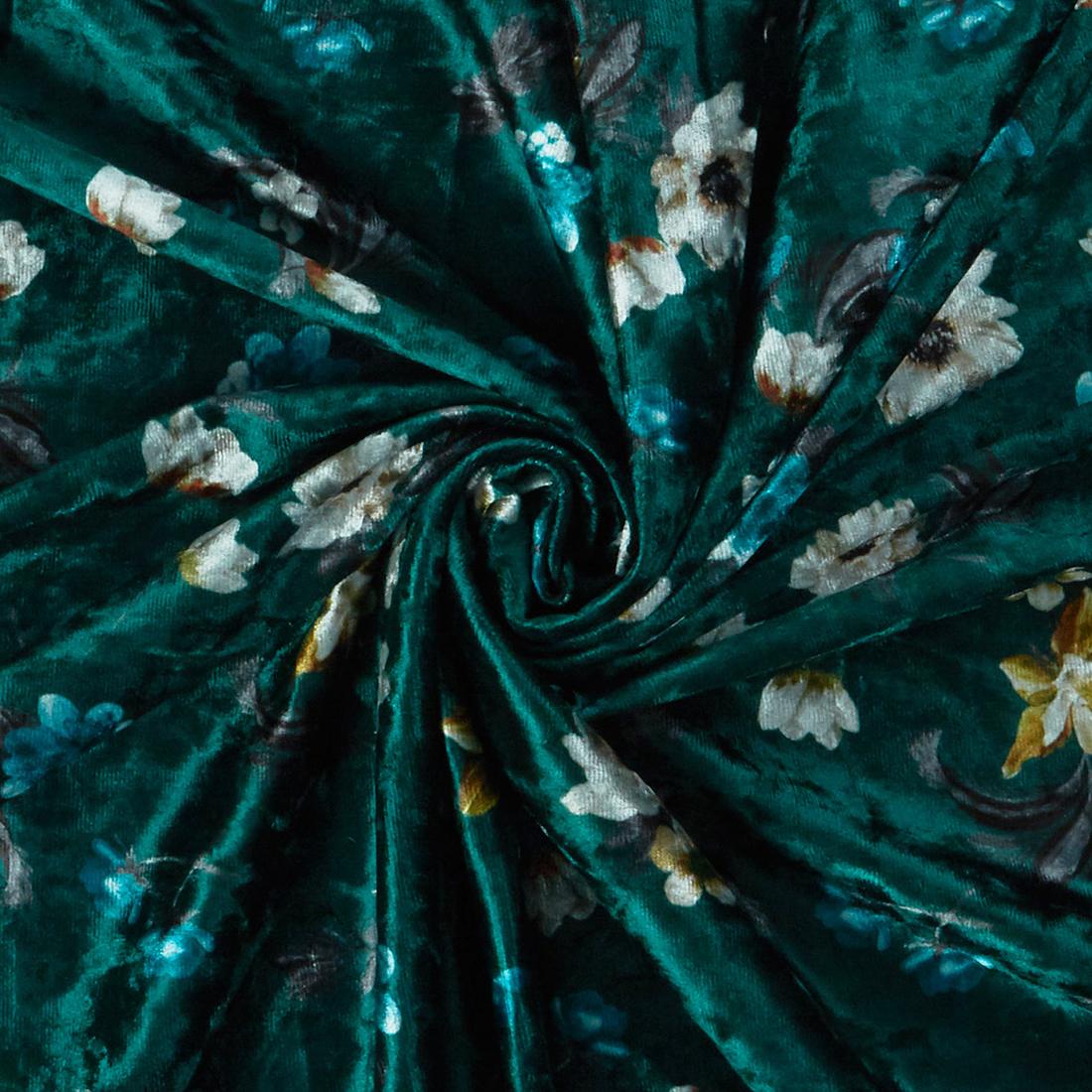 Floral Velour Emerald Dress Fabric