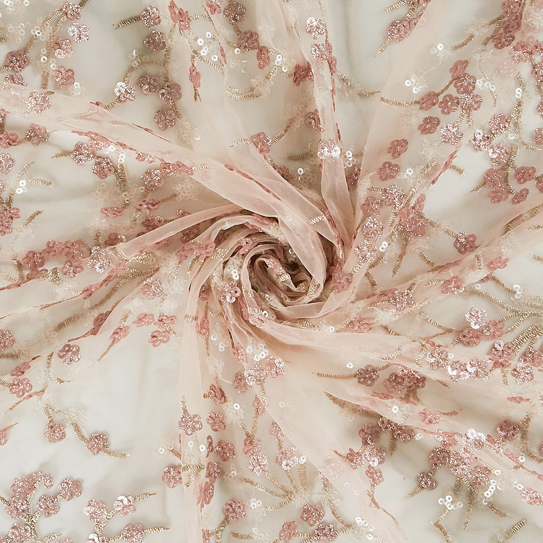 Flores Sequin Tulle Rose Gold