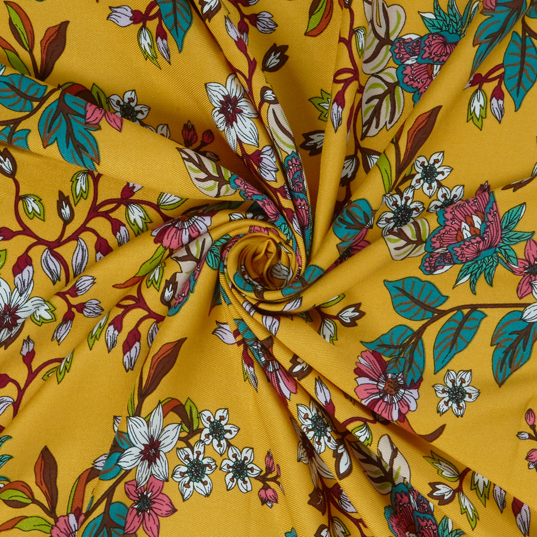 Forest Trail Mustard Dress Fabric